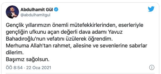 Yavuz Bahadıroğlu Taziye